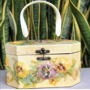 Vtg Annie Laurie Floral Wood Purse Bag 60s 70s